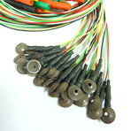 10mm AgAgCl Disk Electrodes, 100cm Lightweight cable, 25/pack, TP connectors.